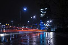 Time Lapse Photography of Road during Night Time royalty free stock photo