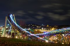 Time-lapse Photography Of Roller Coaster During Night Time Stock Photo
