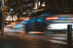 Time-lapse Photography of Silver Car Passed by on Road Stock Photography
