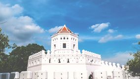 Time lapse of Phra Sumen Fort in Santi Chai Prakarn Park. popular landmark for sightseeing activity for foreign tourist stock video footage