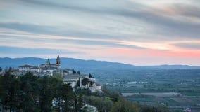 Time Lapse piękny przysiółek Trevi przy zmierzchem: Umbria, Włochy zbiory