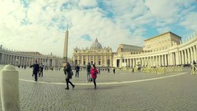 Time lapse at Piazza San Pietro St. Peter`s Square. Vatican city, Rome, Italy - January 31, 2018: Time lapse at Piazza San Pietro St. Peter`s Square, the view to stock video