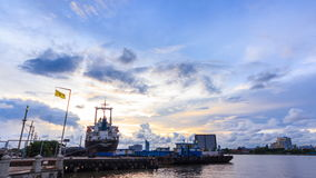 Time lapse, Pier and Port near Chao Praya river and water traffic transportation from Day to Night. Bangkok Thailand stock footage