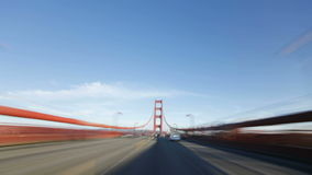Time lapse point of view driving over the golden gate bridge san francisco stock video