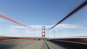 Time lapse point of view driving over the Golden Gate Bridge San Francisco stock video footage