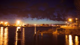 Time lapse in port at night time stock footage