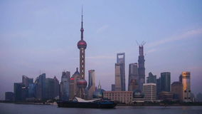 Time lapse of Pudong architecture in Shanghai stock video