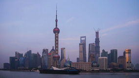 Time lapse of Pudong architecture in Shanghai stock video footage