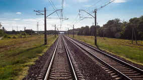 Time lapse railway, transportation, travel, view from a train car stock video footage