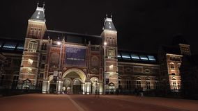 Time Lapse. The Rijksmuseum is a Netherlands national museum dedicated to arts and history in Amsterdam. stock footage