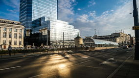 Time lapse of road and buildings in Warsaw stock video footage