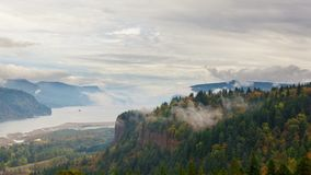 Time Lapse of Rolling White Fog and Clouds over Columbia River Gorge from Women's Forum Overlook 4k stock footage