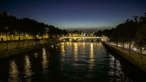 Time lapse of romantic view of the Seine River in Paris stock video footage