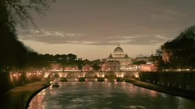 Time-lapse of Rome, Vatican, St Peter Basilica and St Angelo Bridge crossing Tiber River in the city center of Rome