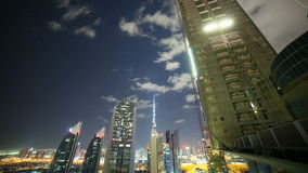 Time lapse from the roof on night dubai city. 4k time lapse from the roof on night dubai stock footage