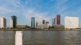 Time lapse in Rotterdam with Nieuwe Maas and ships.
