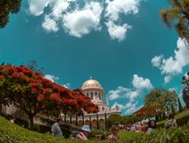 Time lapse of running clouds over Bahai temple at Carmel mountain Haifa, Israel stock video