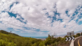 Time lapse of running clouds over Carmel mountain Haifa, Israel