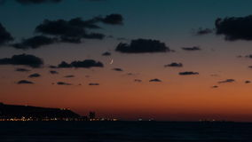 Time lapse of running clouds over Mediterranean sea, Haifa, Israel stock video footage