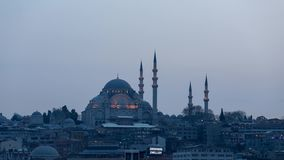 Time Lapse Rustem-Pasha Mosque. Timelapse video day to night of the popular Rustem-Pasha Mosque based on a hill in istanbul stock video footage