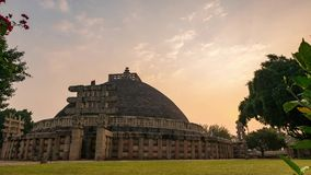 Time lapse Sanchi Stupa, Madhya Pradesh, India. Ancient buddhist building, religion mystery,