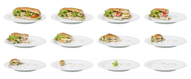 Time Lapse - Sandwich. Being eaten Royalty Free Stock Photo