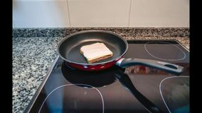 Time lapse of sandwich mount and cook process stock footage