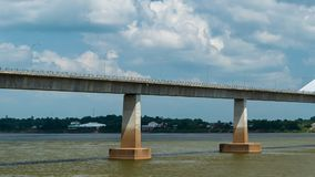 The Second Thai–Lao Friendship Bridge in Mukdahan, Thailand. Time lapse of The Second Thai–Lao Friendship Bridge in Mukdahan, Thailand stock video footage