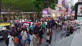 Time-lapse in Seoul, people on the busy street.