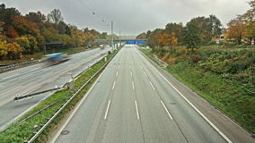 Time lapse sequence of Autobahn/Highway. With lane closed stock video footage