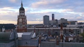 Time-lapse sequence of Croydon clock tower captured during sunset on a cloudy evening. London, England stock video