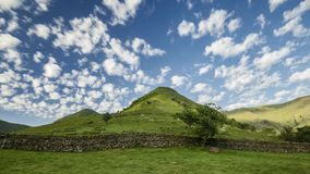 Morning clouds over scenic hills in lake district stock video footage