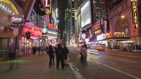 Time-lapse Sequence Of Theatres At Night In Times Square NYC Royalty Free Stock Image