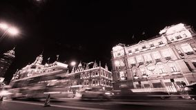 Time lapse Shanghai bund traffic at night,old-fashioned business building. stock video footage