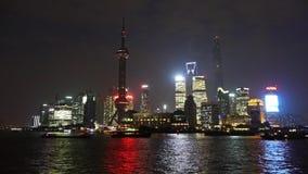 Time lapse Shanghai night,Lujiazui financial hub,busy Huangpu River shipping. stock video