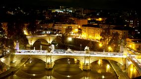 Time lapse shot of the beautiful bridges of Rome by night stock footage