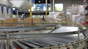Time Lapse Shot Of Boxes Moving On Conveyor Belt Royalty Free Stock Images