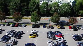 Time lapse shot of busy parking lot Stock Image