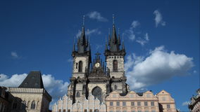 Time lapse shot The Church of Our Lady before Tyn, from Old Town Square. The Church of Our Lady before Tyn, from Old Town Square Stare Mesto, Prague, Czech stock footage
