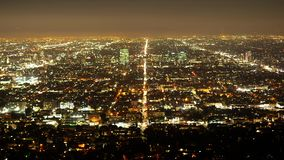 Time lapse shot of the city of Los Angeles by night. Travel photography stock video