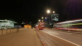 Time-Lapse-shot of London Bridge street traffic by night in 4k stock video