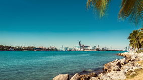 Time lapse shot of Miami bay with port as background stock video