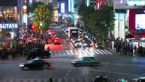 Time-lapse shot of Shibuya's main road crossing stock video footage