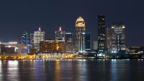 Time lapse shot of the Skyline of Louisville by night