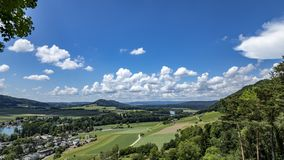 Upper Rhine valley, time lapse. Time lapse shot of the upper Rhine valley on the Swiss – German border near the city of Stein am Rhein on a beautifully sunny stock footage