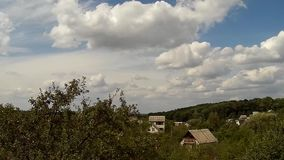 Time lapse of sky over village hills in Khmelnytskyi countryside, Ukraine day stock footage