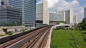 Time Lapse of the skyline Uno City Vienna with underground railway. Time Lapse of the skyline Uno City Vienna (Austria) with underground railway. The United stock footage
