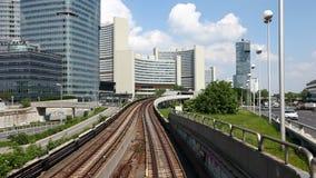 Time Lapse of the skyline Uno City Vienna with underground railway stock video