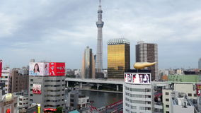 Time Lapse of Skytree Entertainment Tower and Tokyo Skyline - Tokyo Japan stock video footage