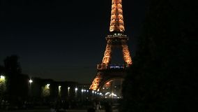 Time lapse slide from the Eiffel Tower at night stock video footage
